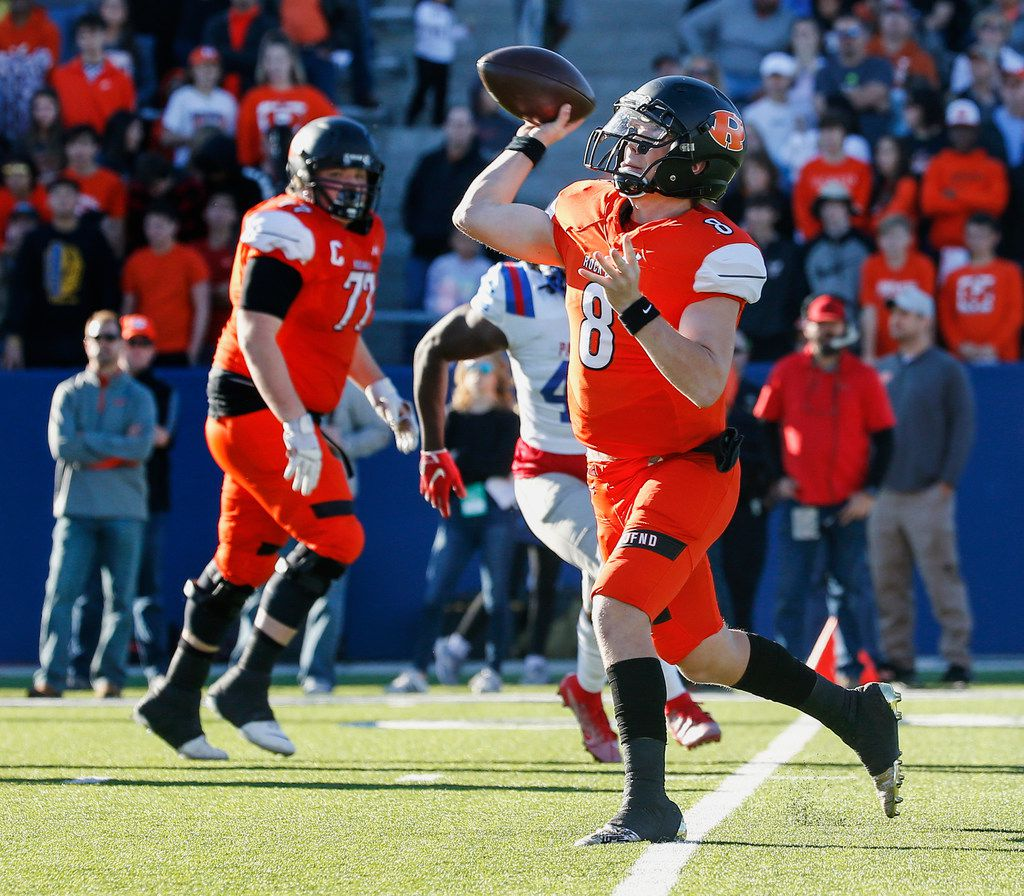 Rockwall quarterback Braedyn Locke (8) fires off a pass during the first half of a Class 6A Division I state semifinal football matchup between Rockwall and Duncanville on Saturday, Dec. 14, 2019 at McKinney ISD Stadium in McKinney, Texas. (Ryan Michalesko/The Dallas Morning News)