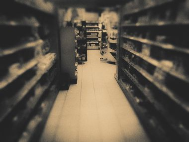Supermarket, monochrome,