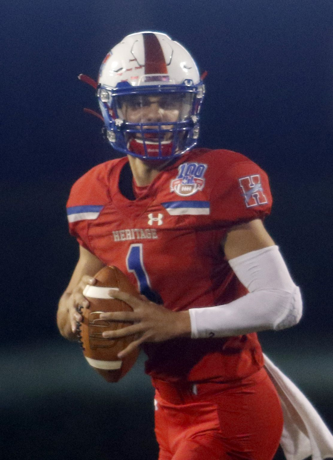 Midlothian Heritage quarterback Daelin Rader (1) looks for a receiver during second quarter action against Lindale. The two teams played their Class 4A football game at Midlothian ISD Multipurpose Stadium in Midlothian on September 4, 2020. (Steve Hamm/ Special Contributor)