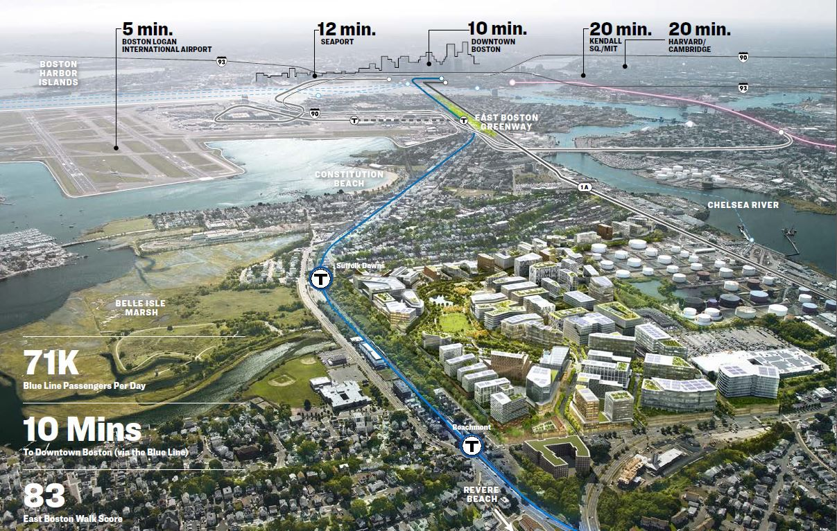 A rendering of the potential Amazon headquarters in Boston shows the drive time to downtown, Harvard and the airport. (City of Boston)