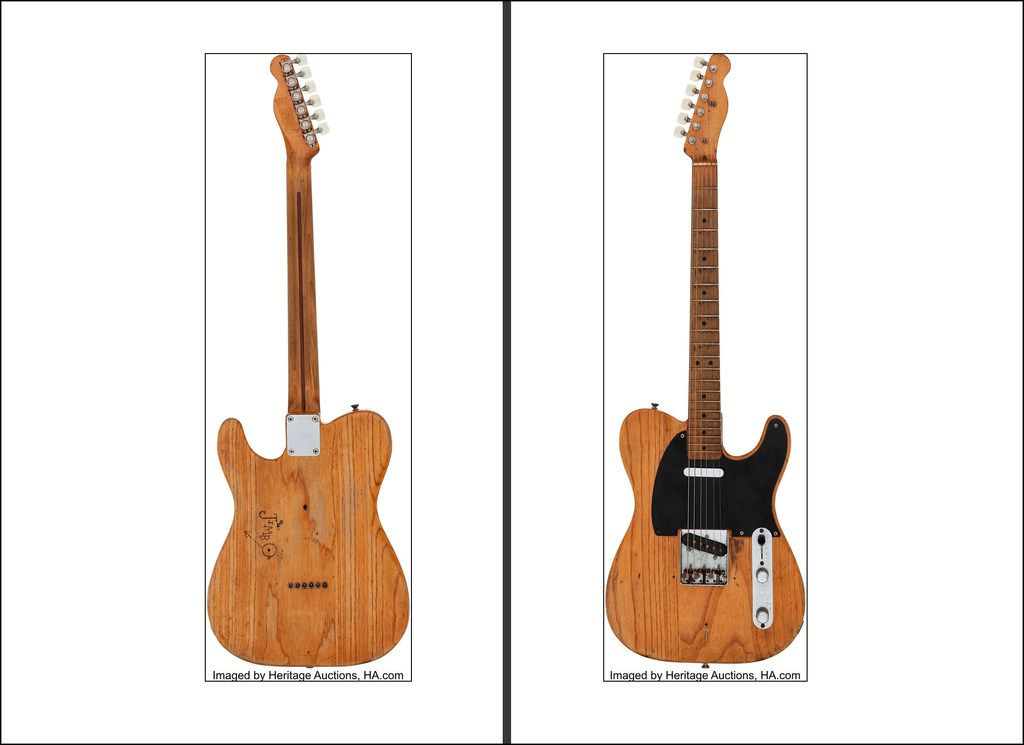 """The electric guitar that Stevie Ray Vaughan used in his first studio recording and early performances was given to him as a gift by his brother Jimmie. """"Jimbo"""" is carved on the back."""