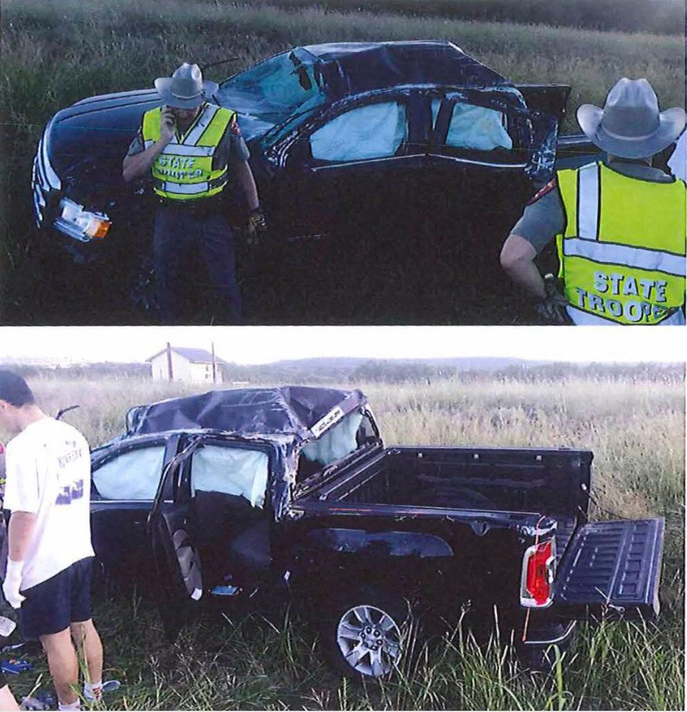 Photos in a Texas Cowboys investigative report provided to The Dallas Morning News by the University of Texas showed the damaged vehicle in which Nicky Cumberland, a 20-year-old UT student from Houston, was riding the night it crashed in September 2018.