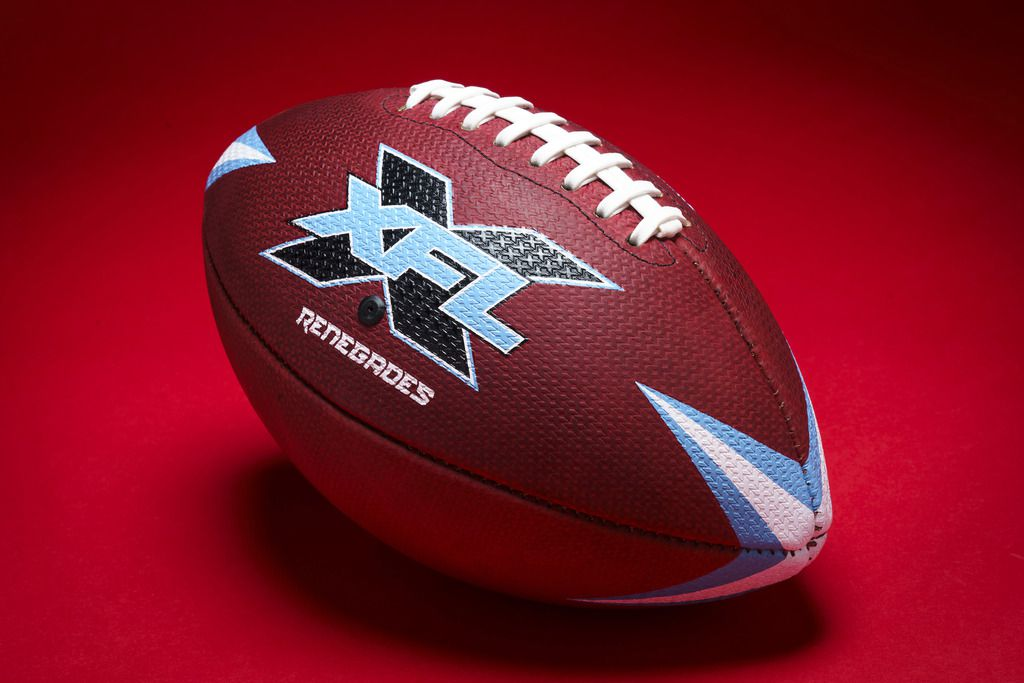 The new XFL football photographed on Monday, Nov. 25, 2019, in Dallas. The new pro football league that starts play in February and is Smiley N. Pool/The Dallas Morning News)