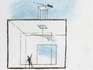 "Dallas architect Max Levy sketched these drawings for an imaginary refuge in nature for the April 2020 'Art and the City' issue of Arts & Life Sunday chronicling creatives in North Texas after coronavirus. Levy described his concept as ""designing a small house on a modest budget for a young cattle rancher whose ecological principles have beautifully vitalized her land."""