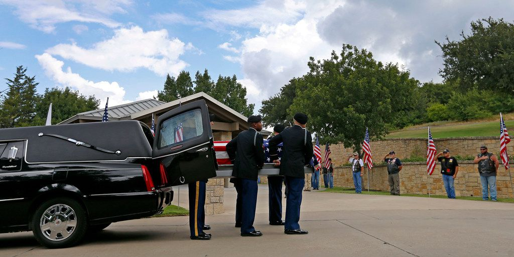 Members of the US Army Honor Guard carry a casket of Army Pvt. Kenneth D. Farris killed during World War II in Germany at Dallas-Forth Worth National Cemetery in Dallas, Monday, July 9, 2018. Pvt. Farris has his remains identified on April 23, 2018. (Jae S. Lee/The Dallas Morning News)
