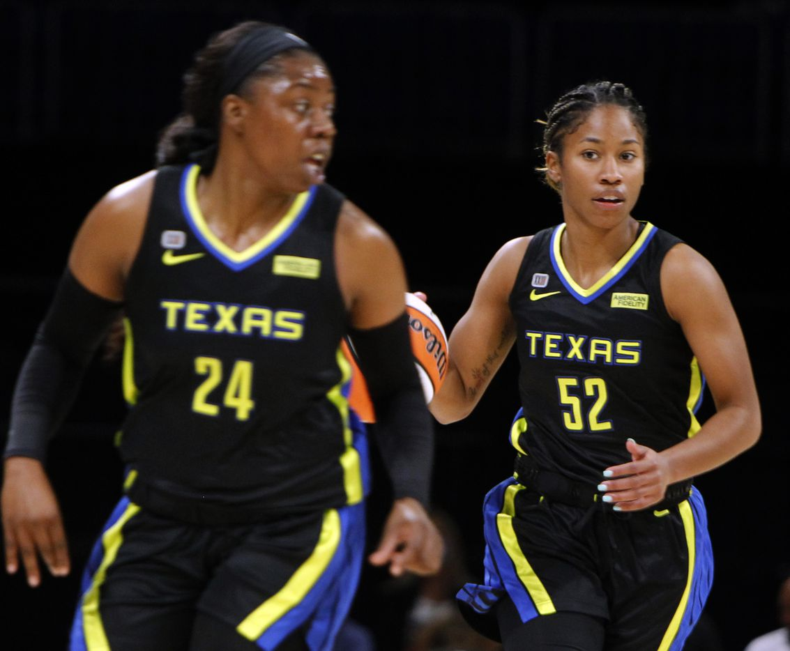 Dallas Wings guard Tyasha Harris(52), right, brings the ball up-court behind guard Arike Ogunbowale (24) during first half action against the Atlanta Dream. Dallas lost to Atlanta 69-64. The two teams played their WNBA game at College Park Center on the campus of UT-Arlington on September 5, 2021. (Steve Hamm/ Special Contributor)