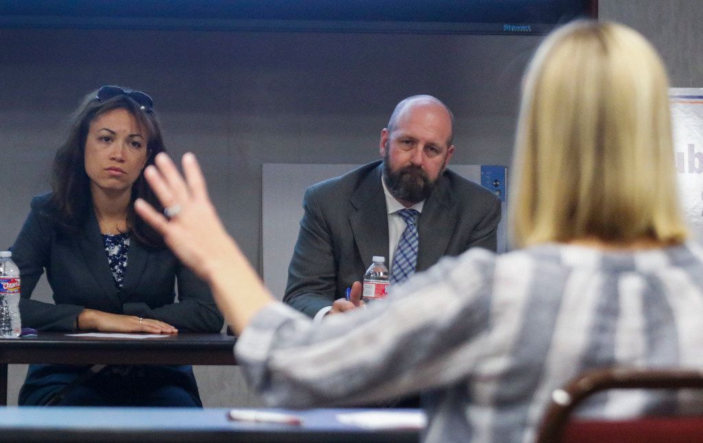 Penny Schwinn, left, the Texas Education Agency's chief deputy commissioner of academics, is shown at an April hearing on special education in Richardson. A state audit on Tuesday said she had a prior professional relationship with a person who became a subcontractor in the controversial, no-bid SPEDx contract she oversaw.