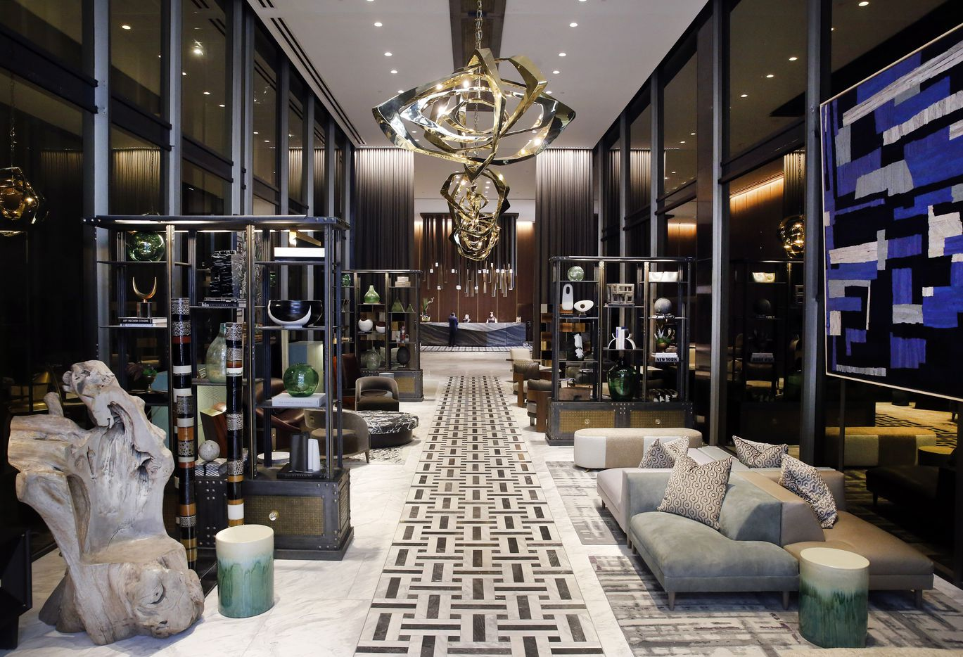 The lobby view looking into the 219-room Thompson Dallas luxury hotel.