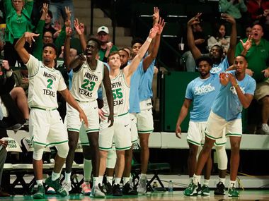 The North Texas bench celebrates during a win over Old Dominion on Saturday at the Super Pit. Conference USA released its bonus play schedule on Sunday.