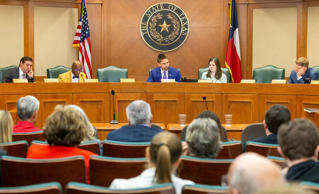 "Judiciary & Civil Jurisprudence Committee chaired by state Rep. Jeff Leach, R-Plano, at the Texas State Capitol, Monday, March 25, 2019. The seats of state Rep. Jessica Farrar, D-Houston, and state Rep. Yvonne Davis, D-Dallas, sit empty. Four House Democrats boycotted a committee hearing Monday, temporarily blocking debate on a bill that could result in fines of doctors who fail to provide ""appropriate medical treatment"" in the event that a fetus lives through an attempted abortion.  That frustrated Plano GOP Rep. Jeff Leach, chairman of the House Judiciary and Civil Jurisprudence Committee and the bill's author. Leach temporarily adjourned the committee. But on Monday afternoon, after the House completed a floor session, Leach's committee, with Meyer seated at the dais, began hearing testimony on the measure, House Bill 16."