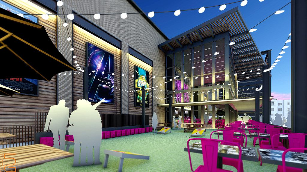 An external rendering of the Video Vortex bar, part of the upcoming Alamo Drafthouse in Frisco.