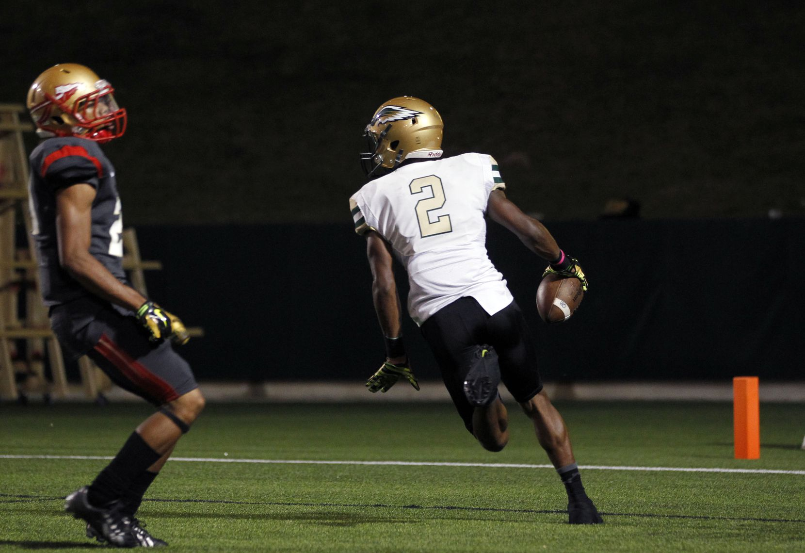 TXHSFB Desoto High School wide receiver James Proche' (2) plays against South Grand Prairie High School in Grand Prairie, Texas, Monday, October 20, 2014. Mike Stone/Special Contributor