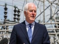 Senator John Cornyn (R-TX) joins U.S. Representative Eddie Bernice Johnson (TX-30) during a press conference outside an electrical substation to announce their bipartisan legislation to help weatherize Texas's energy grid in Dallas on Thursday, April8, 2021.