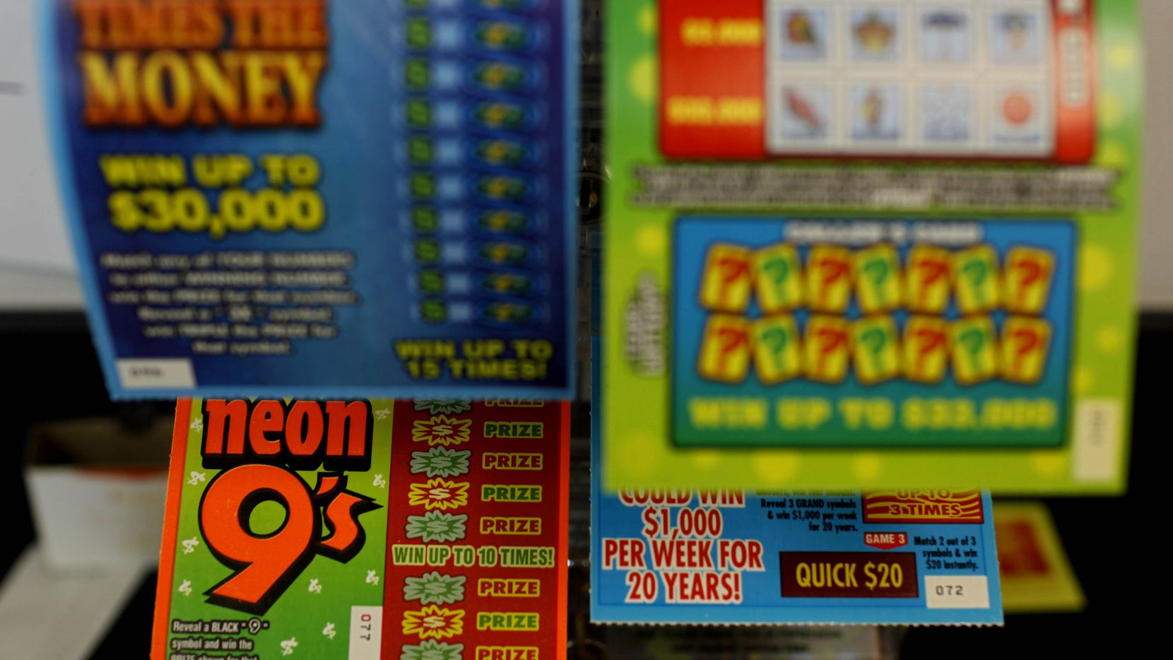 In this file photo, Texas Lottery tickets available for purchase are pictured in north Dallas.