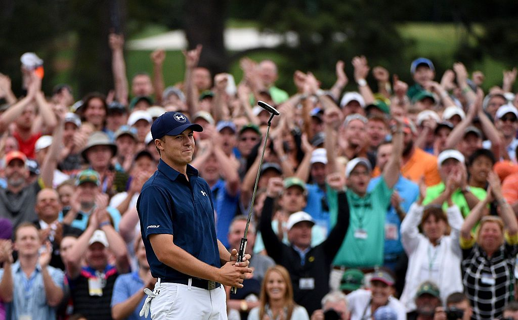 AUGUSTA, GA - APRIL 12:  Jordan Spieth of the United States celebrates on the 18th green after winning the 2015 Masters at Augusta National Golf Club on April 12, 2015 in Augusta, Georgia.  (Photo by Ross Kinnaird/Getty Images)