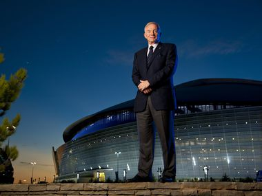 Dallas Cowboys owner Jerry Jones is photographed outside Cowboys Stadium (later named AT&T Stadium) in August 10, 2010. Super Bowl XLV was held at the venue at the end of that NFL season.