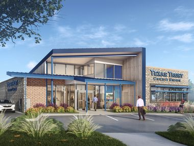 A rendering of the new Texas Trust Credit Union Grand Prairie branch.