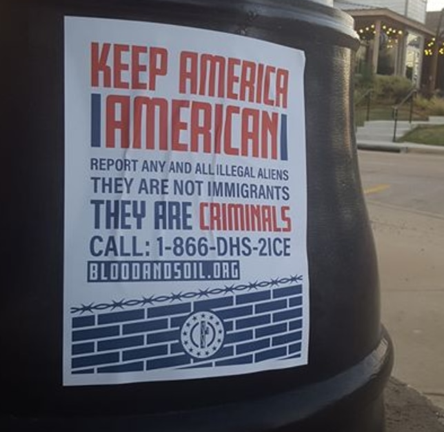 The Patriot Front distributed similar posters in Lewisville in May.