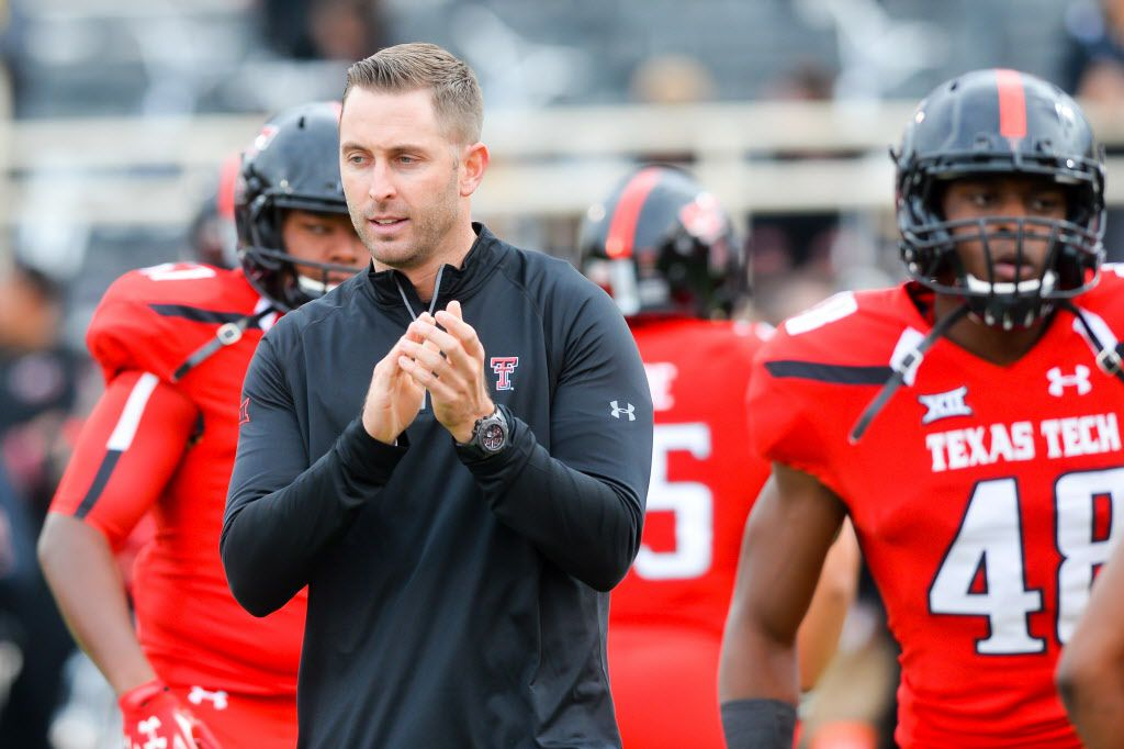 LUBBOCK, TX - NOVEMBER 14: Head coach Kliff Kingsbury of the Texas Tech Red Raiders before the game between the Texas Tech Red Raiders and the Kansas State Wildcats on November 14, 2015 at Jones AT&T Stadium in Lubbock, Texas. Texas Tech won the game 59-44.