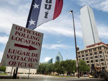 Signage marking an official polling location outside of the  George Allen Courts building in Downtown Dallas, during the first day of early voting, on Monday, April 19, 2021.