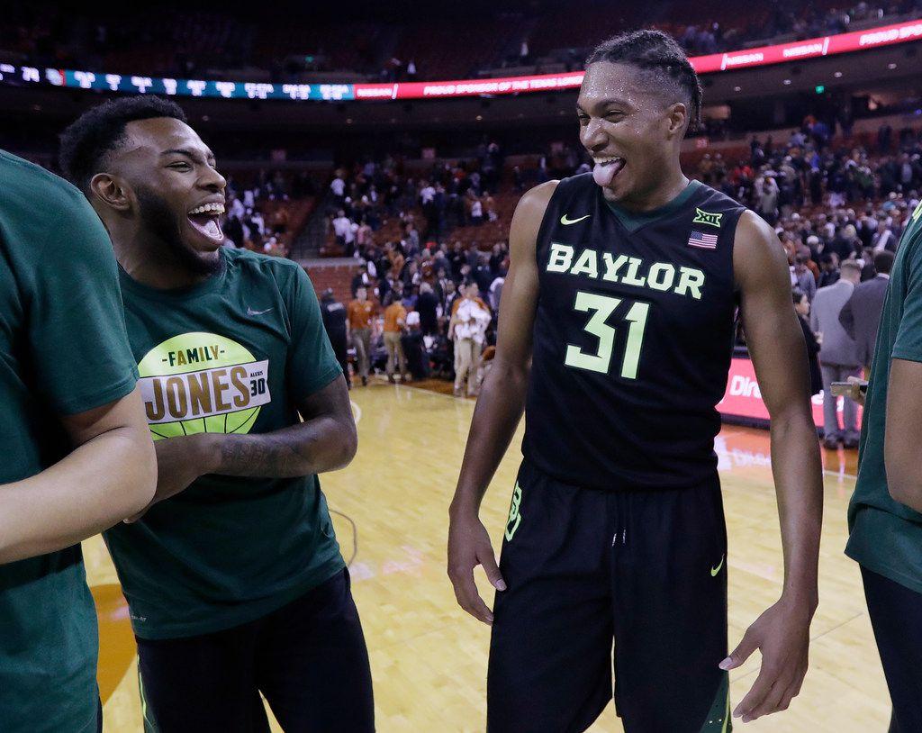 Baylor forward Terry Maston (31) celebrates the team's win over Texas in an NCAA college basketball game, Monday, Feb. 12, 2018, in Austin, Texas. Baylor won 74-73 in double overtime. (AP Photo/Eric Gay)