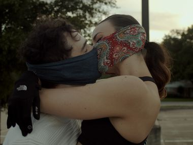A still from the video 'Everything Will Be Fine' by Prism Movement Theater, a Dallas troupe that uses dance and music, but not words. It was filmed outside, at the Latino Cultural Center in Dallas.