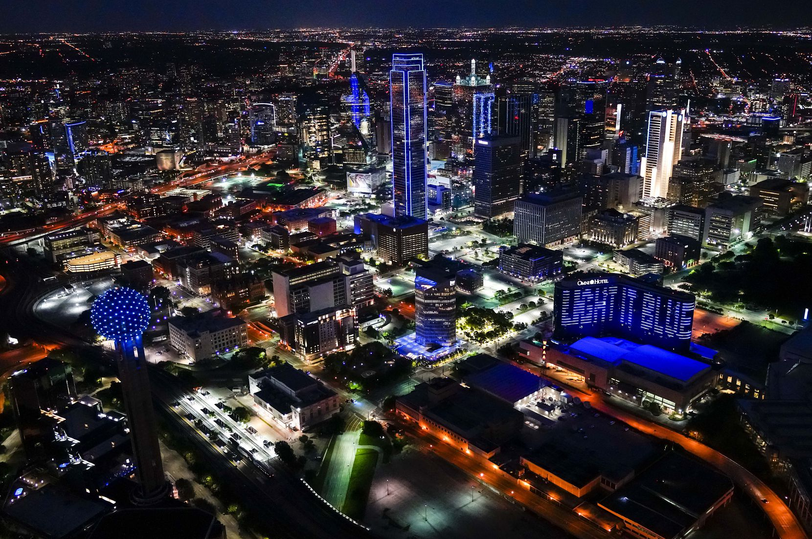 The downtown Dallas skyline was illuminated in blue as part of the nationwide #LightItBlue movement in early April. Major cities and buildings showed support in blue hue for those fighting COVID-19.