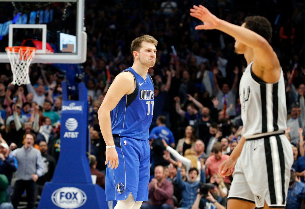 Dallas Mavericks forward Luka Doncic (77) reacts after hitting a three-pointer late in fourth quarter against the San Antonio Spurs at the American Airlines Center in Dallas, Monday, November 18, 2019. The Mavericks won, 117-110. (Tom Fox/The Dallas Morning News)