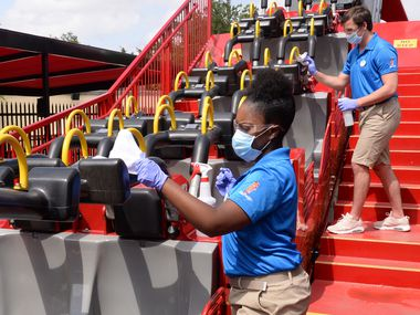 Six Flags employees will clean rides, restraints and railings throughout the day.