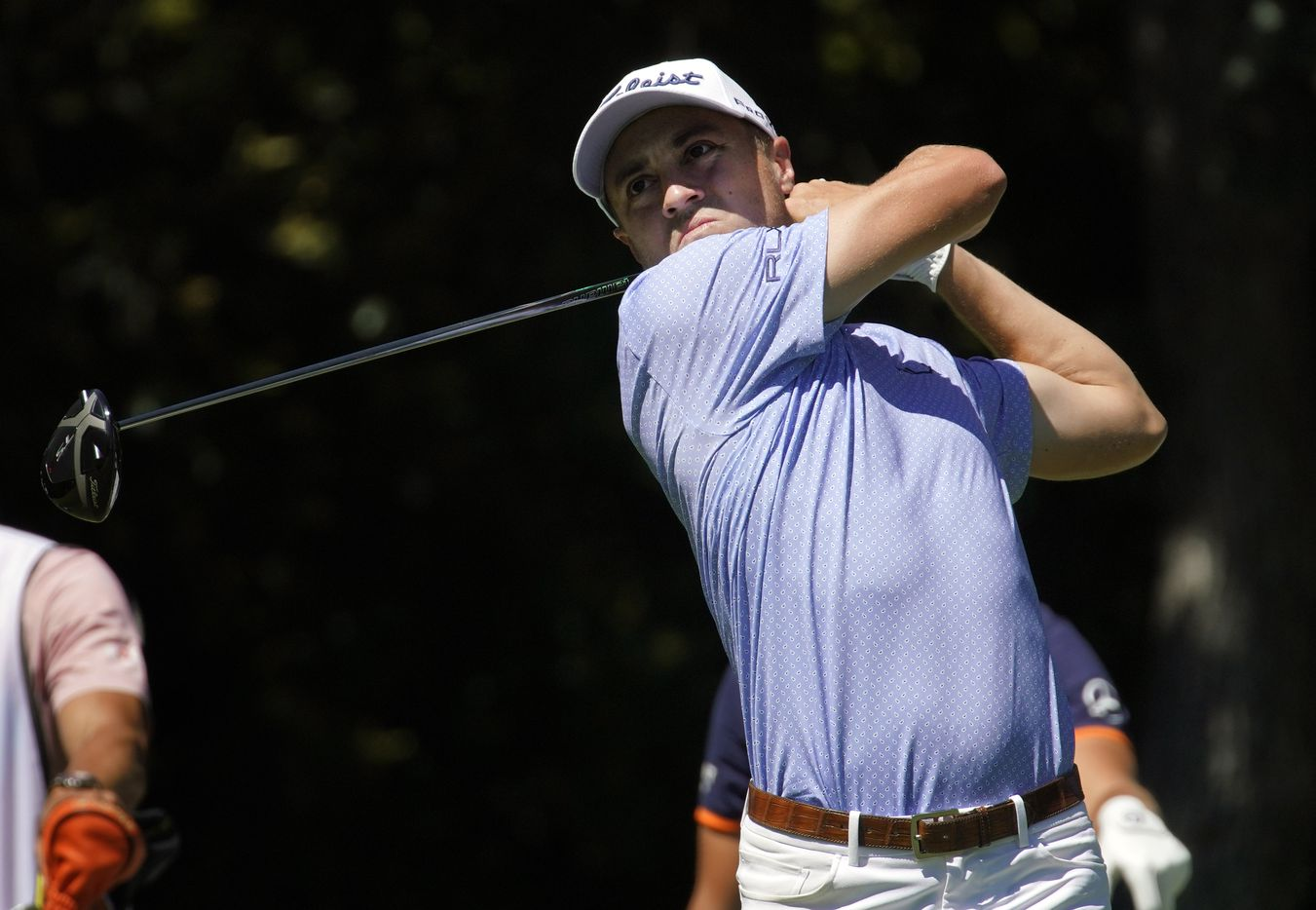 PGA Tour golfer Justin Thomas watches his drive off the No. 12 tee box during the opening round of the Charles Schwab Challenge at the Colonial Country Club in Fort Worth, Thursday, June 11, 2020.  The Challenge is the first tour event since the COVID-19 pandemic began. (Tom Fox/The Dallas Morning News)