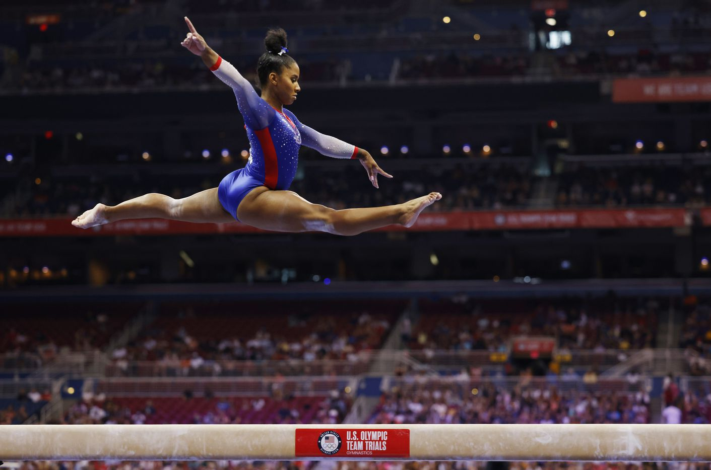 Jordan Chiles of World Champions competes on the balance beam during day 1 of the women's 2021 U.S. Olympic Trials at America's Center on Friday, June 25, 2021 in St Louis, Missouri.(Vernon Bryant/The Dallas Morning News)