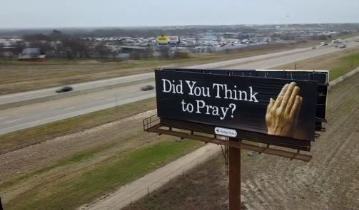This sign promoting prayer is not located on the property that owns it. Therefore, it is illegal, according to a Waxahachie city ordinance.