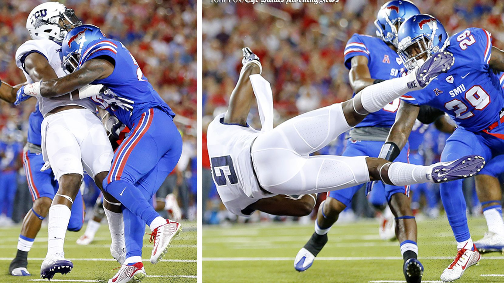 Southern Methodist Mustangs defensive back Darrion Millines (29) makes helmet to helmet contact on TCU Horned Frogs wide receiver John Diarse (9) at Gerald J. Ford Stadium in University Park, Texas, Friday, September 23, 2016. Millines was ejected from the game for targeting.