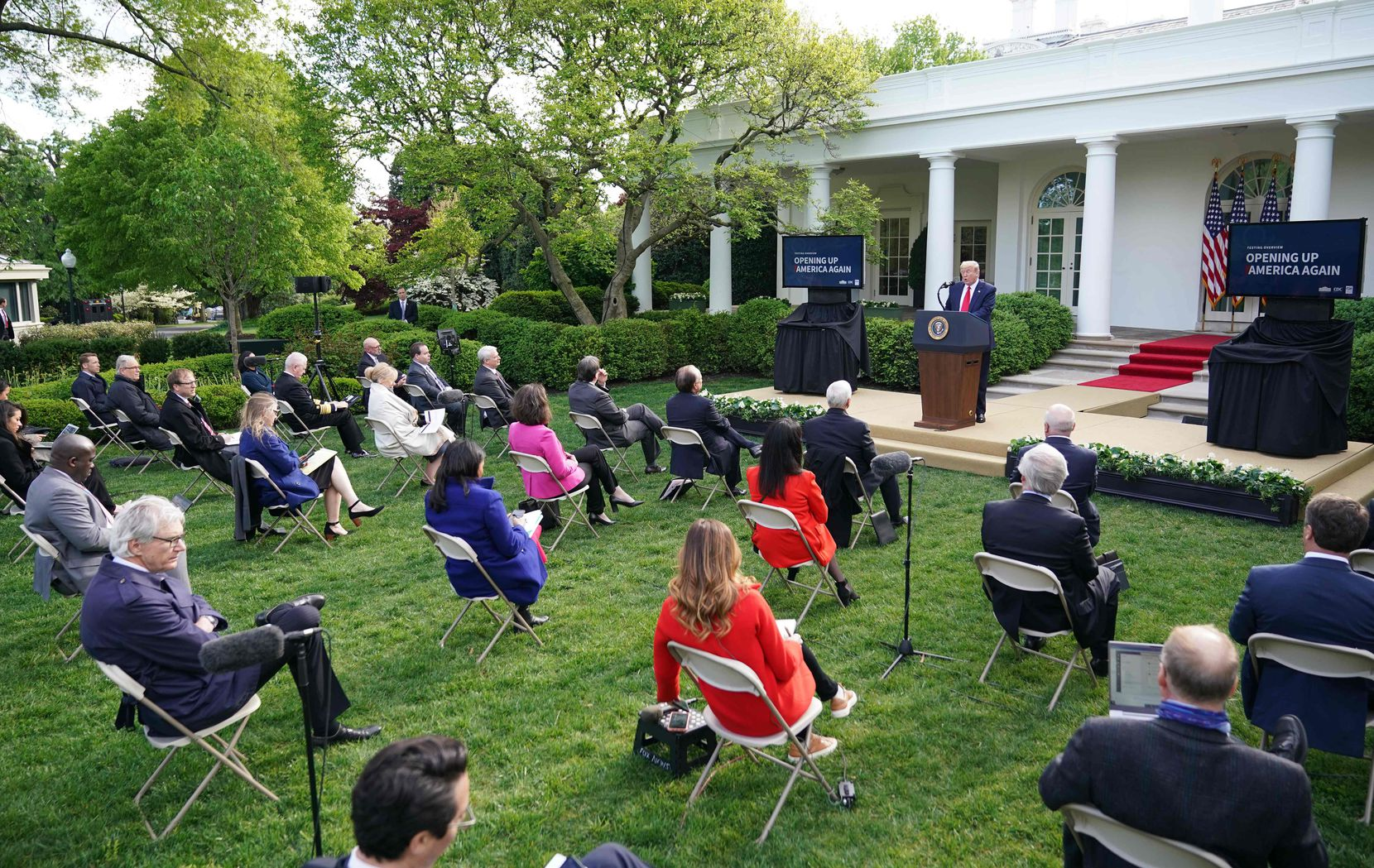 President Donald Trump speaks during a news conference on the novel coronavirus, COVID-19, in the Rose Garden on April 27, 2020.