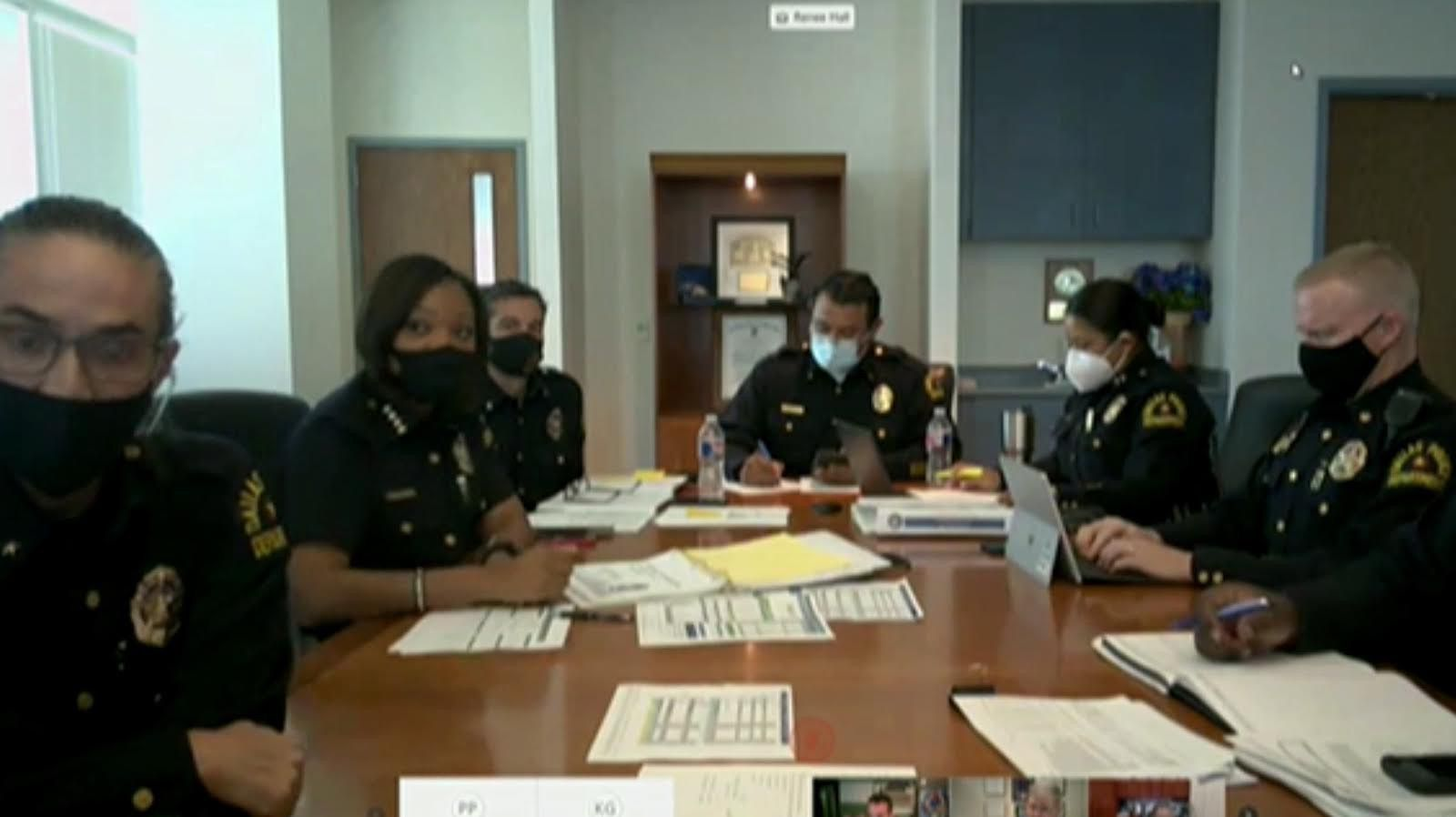 Dallas Police Chief U. Renee Hall (left center) joined other members of the Dallas Police Department to give a violent crime update during the City Council's Public Safety Committee Meeting on Monday, Aug. 10, 2020. (Screen grab via video conference)