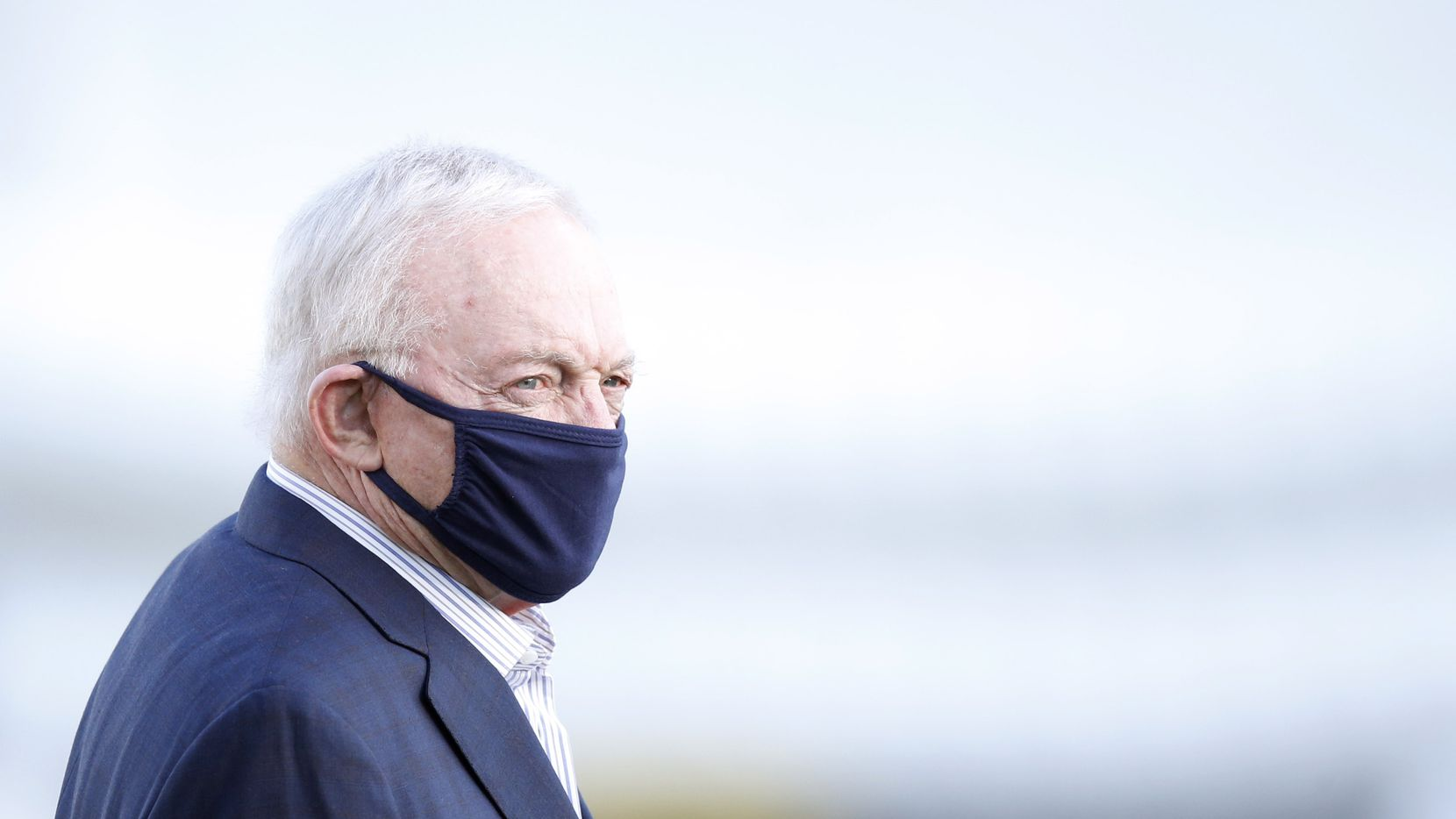 Dallas Cowboys owner and general manager Jerry Jones makes his way onto the practice field during training camp at the Dallas Cowboys headquarters at The Star in Frisco, Texas on Friday, August 21, 2020.