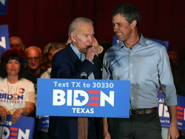 Former Vice President Joe Biden speaks after former El Paso Rep. Beto O'Rourke endorsed him at a campaign rally on March 2, 2020, at Gilley's in Dallas, the night before the Texas primary.
