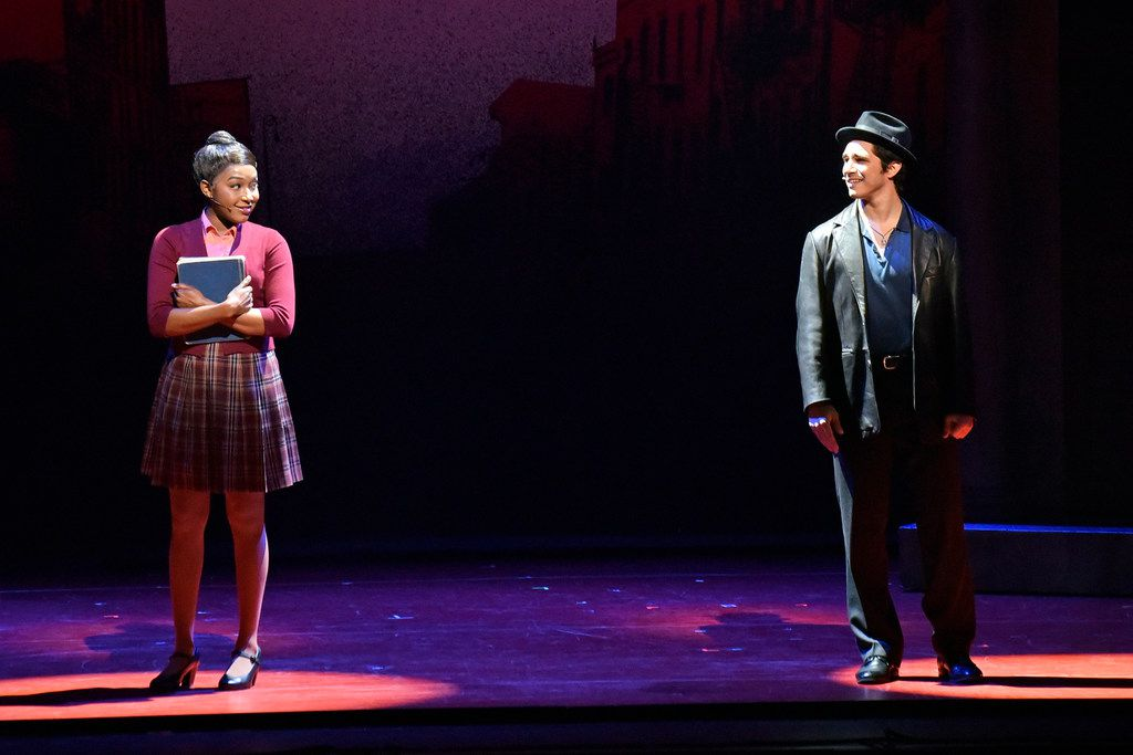 Jane (Brianna-Marie Bell) and Calogero (Joey Barreiro) eye one another as they meet for the first time in A Bronx Tale, presented by AT&T Performing Arts Center at the Winspear Opera House. Ben Torres/Special Contributor