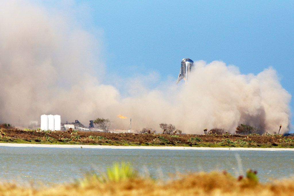 SpaceX has been testing its StarHopper at Boca Chica Beach in South Texas.