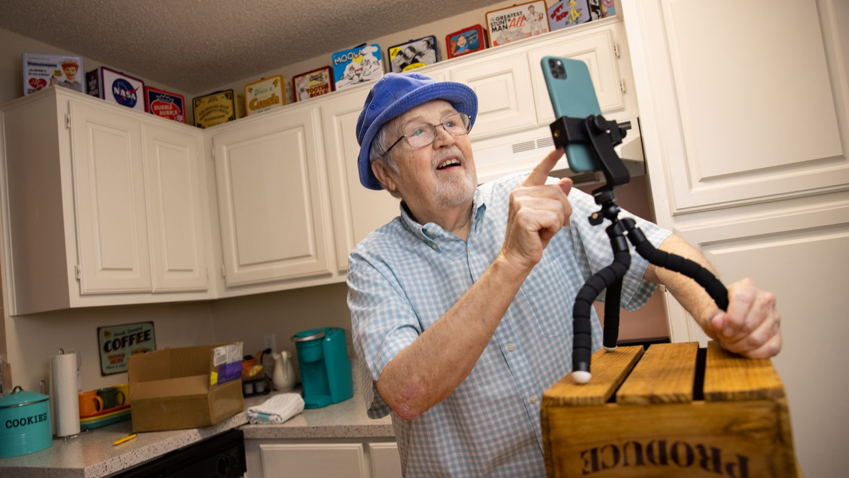 Steve Austin, a.k.a. Old Man Steve on TikTok, sets up his phone to make a video for 1.4 million followers. He posts two to four times a day from his Richland Hills apartment.