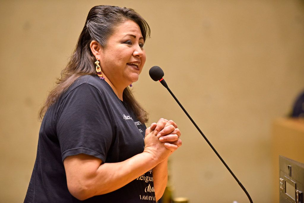 Yolonda Blue Horse, a member of the Rosebud Sioux tribe, speaks to Dallas City Council in favor of declaring the second Monday in October as Indigenous People's Day, during a council agenda at Dallas City Hall, Tuesday morning Oct. 8, 2019. Ben Torres/Special Contributor