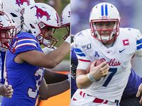 SMU place kicker Chris Naggar (left) and SMU quarterback Shane Buechele (right).