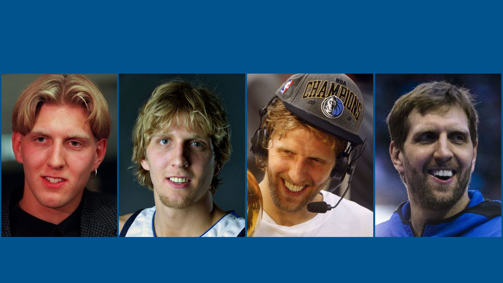Dirk Nowitzki in 1998 (far left), 2001 (middle left), 2011 (middle right) and 2019 (far right).