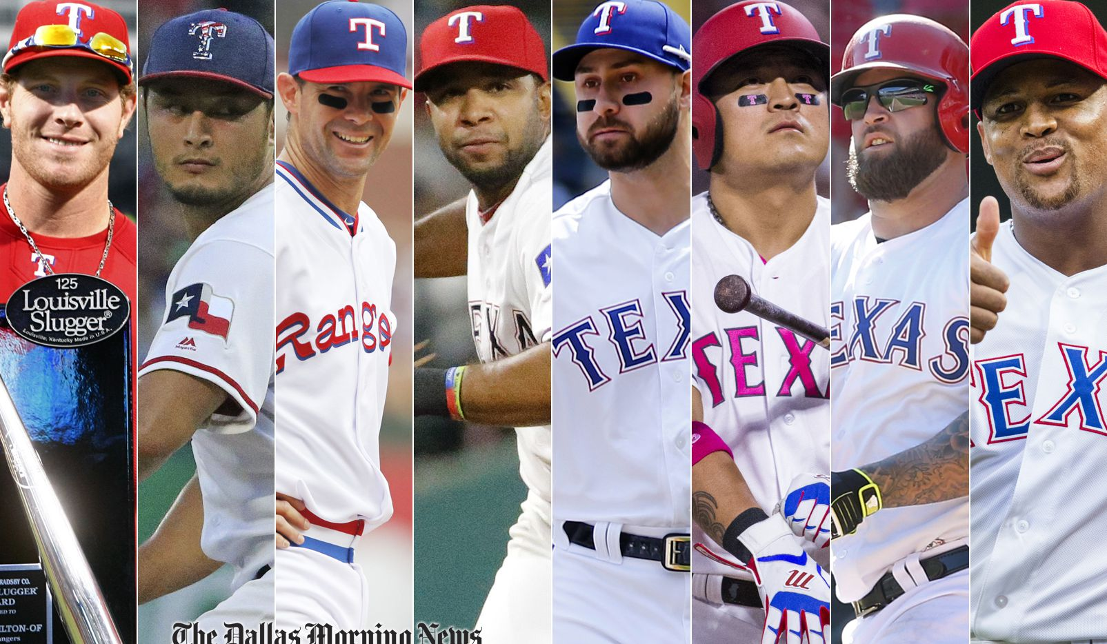 Members of The Dallas Morning News' all-decade team, from L to R: Josh Hamilton, Yu Darvish, Michael Young, Elvis Andrus, Joey Gallo, Shin-Soo Choo, Mike Napoli, Adrian Beltre