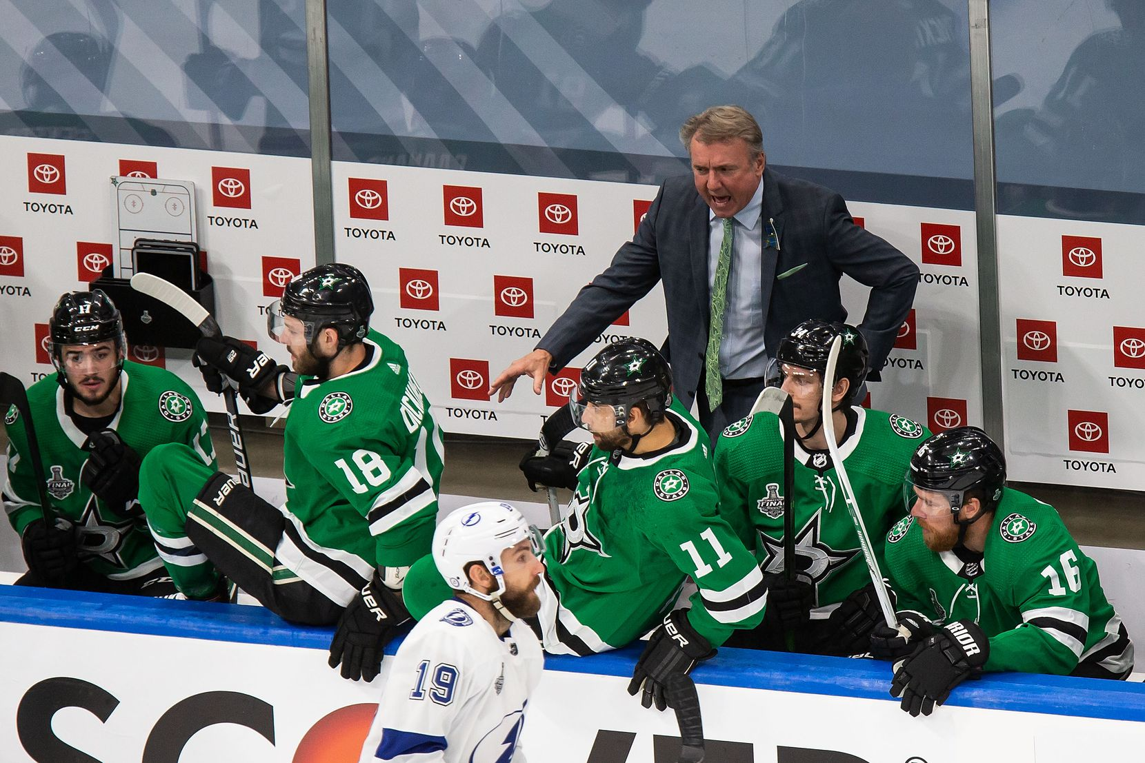 Interim head coach Rick Bowness of the Dallas Stars on the bench during Game Three of the Stanley Cup Final against the Tampa Bay Lightning at Rogers Place in Edmonton, Alberta, Canada on Wednesday, September 23, 2020. (Codie McLachlan/Special Contributor)
