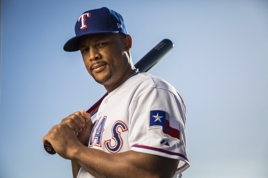 Texas Rangers third baseman Adrian Beltre  poses for a photo during Spring Training picture day at the team's training facility on Wednesday, Feb. 21, 2018, in Surprise, Ariz. (Smiley N. Pool/The Dallas Morning News)