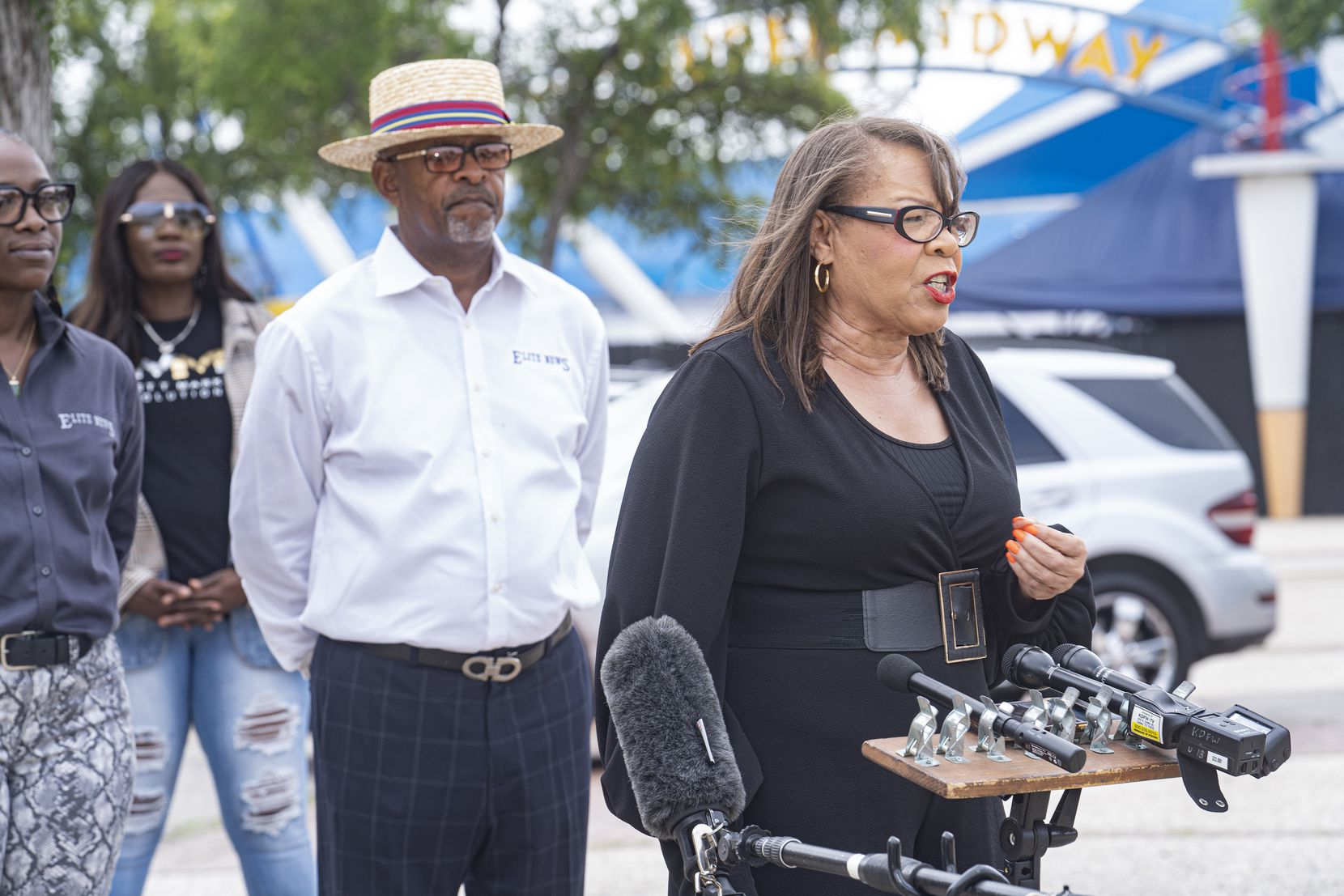 Elite News and the Blair Foundation host the Juneteenth March and Festival at Fair Park on June 19. Seen here is Pat Bailey of the Black Alzheimer's Study at UNT health science center in Fort Worth speaking at a press conference announcing the event.