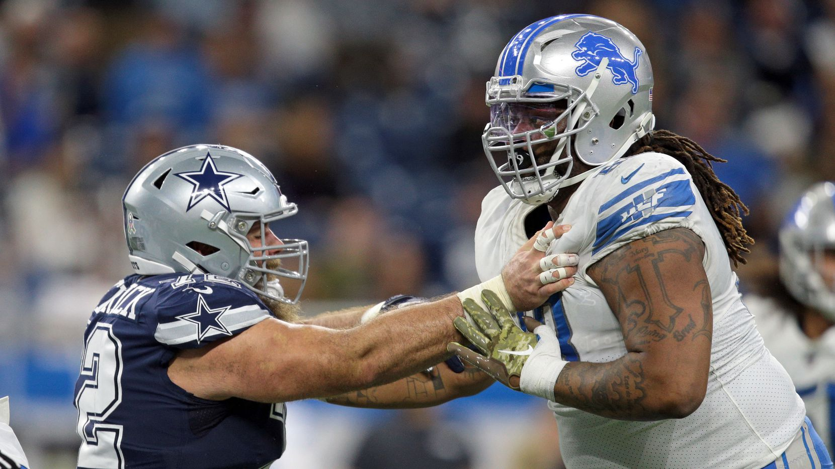 FILE - Lions defensive tackle Damon Harrison (98) battles Cowboys center Travis Frederick (72) during the second half of a game in Detroit on Sunday, Nov. 17, 2019 (Getty Images)