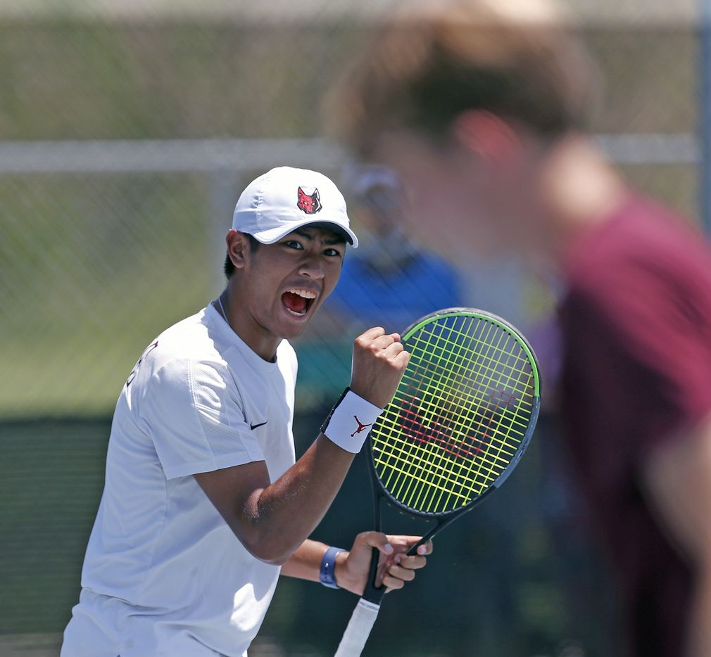 Frisco Heritage's Liam Selvido reacts after a point in a 5A boys doubles match. UIL state tennis semifinals at Northside ISD Tennis Center on Thursday, May 20, 2021.