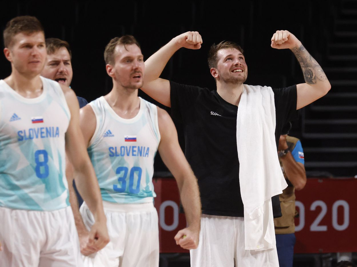 Slovenia's Luka Doncic (77) celebrates after a made basket as they play Germany during the second half of play of a quarter final basketball game at the postponed 2020 Tokyo Olympics at Saitama Super Arena, on Tuesday, August 3, 2021, in Saitama, Japan. Slovenia defeated Germany's 94-70. (Vernon Bryant/The Dallas Morning News)
